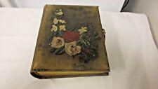 Vintage Suede/Velvet Photo Album- 3D Raised Floral Design-Gold Gilt Edges-18Page