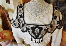Empiècement robe perle de jais or tulle 1900 Art Nouveau Pearl dress Flapper