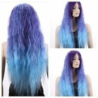 Fashion Long Blue mix Wavy Curly Full Hair Wigs Cosplay Costume Party Lolita Wig