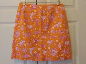 Vtg Women Lilly Pulitzer Florida Friends Sea Life Orange Pink Skirt Size 12