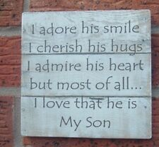 shabby vintage chic MY SON/DAUGHTER  i adore his smile i cherish hugs sign