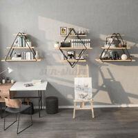 Retro Industrial Rhombus Wall Shelf Rack Bookshelf Storage Organizer HolderUS