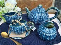 BlueSky Ceramic Sea Urchin Tea Pot, Tea Cups, Creamer, Sugar Bowl With Lid