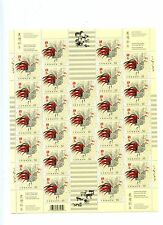 Weeda Canada 2083 Vf mint Nh sheet of 25, 2005 Lunar Year of the Rooster Cv $29