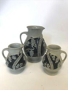 Vintage Pottery Set Trink Edlen Wein Aus Kühlem Stein Germany 1L Water Jug  B11