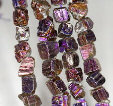6-10MM RAW PYRITE GEMSTONE TITANIUM PURPLE RUGGED NUGGET CUBE LOOSE BEADS 15.5""