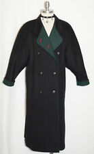 BOILED WOOL Austria OVER COAT Winter WARM EXTRA LONG Trench Dress BLACK B44 14 L