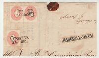 STORIA POSTALE - 1861/62 LOMBARDO VENETO 5 SOLDI X3 ROSSO CONSELVE 24/12 E/5794