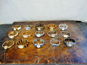 15 Vintage Bangle Bracelet Ladies Watch Lot