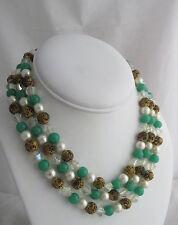 Vintage Pearl Jade Brass & Crystal Beads Beaded Drape Triple Strand Necklace