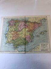 Antique 1930 Map: Spain & Portugal 90 Years Old Original Vintage Print