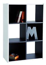 Bibliothèque 6 niches coloris Blanc et Noir