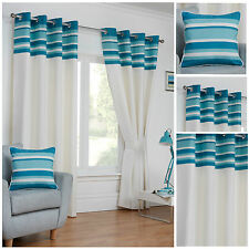 Cambridge Eyelet/Ring Top Stripe Border Lined Curtain Pairs - TO CLEAR