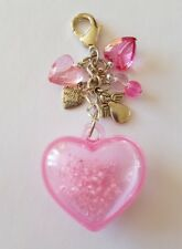 New Handmade Ladies Girls Pink Heart Acrylic Glass Beaded Bag Charm Keyring