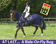 """GEE TAC HORSE RIDE ON FLY RUG COMBO UV RATED FLY MASK 5.6""""  ALL BLUE"""