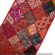 """60"""" Sari Embellished Vintage Textile Tapestry India Wall Hanging Table Runner."""