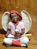 "African American Boy 3 3/4"" Winged Angel Ornament Seated Holding a Ball and Bat"