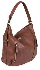 Womens Large Shoulder Bag - Top Zip Opening Faux Leather Handbag - Multiple Zip