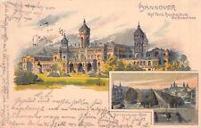 SELTEN 2-Bild Litho AK 1899 HANNOVER@Herrenhäuser Allee Techn Hochschule Schloss