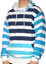Mens Striped Blue Hoodie sky navy white Harajuku Kawaii Cross Colours Supreme