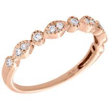Stackable Right Hand Ring 1/6 Ct. 10K Rose Gold Diamond Teardrop Milgrain Edge