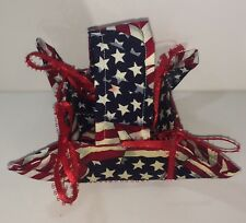"""Handmade Patriotic Red White & Blue Fabric Basket 4"""" Square with Handle"""
