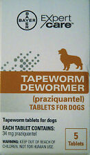 BAYER EXPERT CARE TAPEWORM DEWORMER 5 TABLETS FOR DOGS - EXP 2018