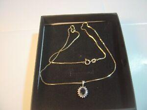 "SUPERB SOLID 9CT GOLD 18"" BOX CHAIN &""SUPERB"" DIAMONDS &SAPPHIRE PENDENT VINTAGE"