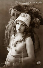 French postcard Photo of Nude with Feathery Hat