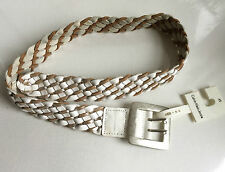 New Calvin Klein Jeans women's white silver braided leather belt XS