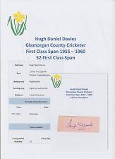 HUGH DAVIES GLAMORGAN COUNTY CRICKETER 1955-1960 ORIGINAL HAND SIGNED CUTTING
