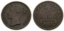 1862 Straits Settlements 1/2 Cent Issued Under British India Government KM #5