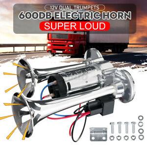 600DB 12V Dual Trumpets Super Loud Car Electric Horn Truck Boat Train Speaker