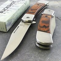 "8"" BUCKSHOT CLASSIC WOOD HANDLE SPRING ASSISTED FOLDING POCKET KNIFE EDC Blade"