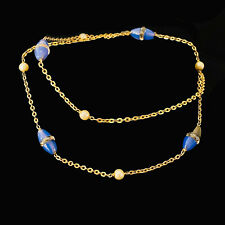 Art Deco 9ct, 9k, 375 Gold blue Chalcedony, rock crystal & faux Pearl bead chain
