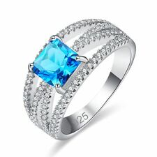 Chic Princess Cut Blue Topaz Silver Women Banquet Jewelry Ring Valentines Day