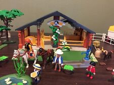 Playmobil 3120 Horse and Pony Ranch With Extension Jeep Trailer Pine Trees Duck