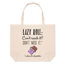 Lazy Rule Can't Reach It Don't Need It Large Beach Tote Bag - Funny Shoulder