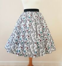 1950s Circle Skirt Black & White Skulls All Sizes - Rockabilly Gothic Halloween