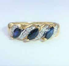 9ct Gold Marquise Sapphire & Diamond Eternity Ring, Size L