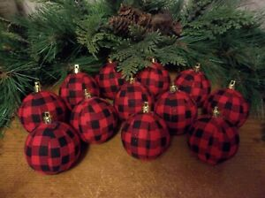 12 Red/Black Buffalo Plaid Glitter Rag Balls Rustic Farmhouse Ornaments, New
