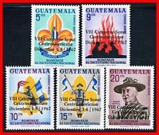 Guatemala 1967 Boy Scouts / Lord Baden-Powell Sc#C376-80 Mnh Cv$4.95