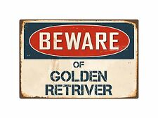 "Beware Of Golden Retriver 8"" x 12"" Vintage Aluminum Retro Metal Sign VS187"