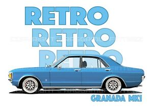 FORD GRANADA mk1 t-shirt. RETRO. CLASSIC CAR. MODIFIED. OLD SKOOL.