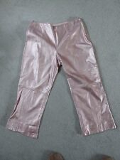 Escada designer Leather soft as butter Pale Pink cut off trousers size 40