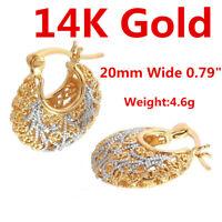 14K Yellow White Gold Drop Dangle Hoop Earrings For Women Girl Lady Jewelry