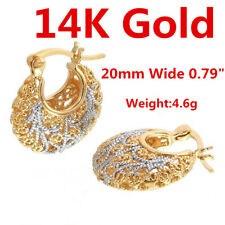 14K Yellow White Gold Drop Dangle Hoop Earrings For Women Girl Lady NEW