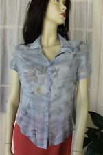SIZE 8 JACQUI E SHEER GREY FLORAL SHORT SLEEVE BUTTON FRONT BLOUSE SHIRT TOP 💫