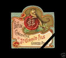 Antique French Perfume Label c. 1920's Vintage Jean Giraud FILS Grasse Paris
