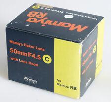 MAMIYA 50MM F/4.5 MAMIYA RB LENS BOX ONLY